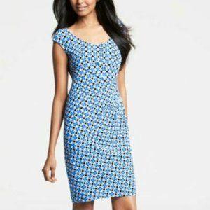 Ann Taylor Womens Blue Dress Print Geo Abstract